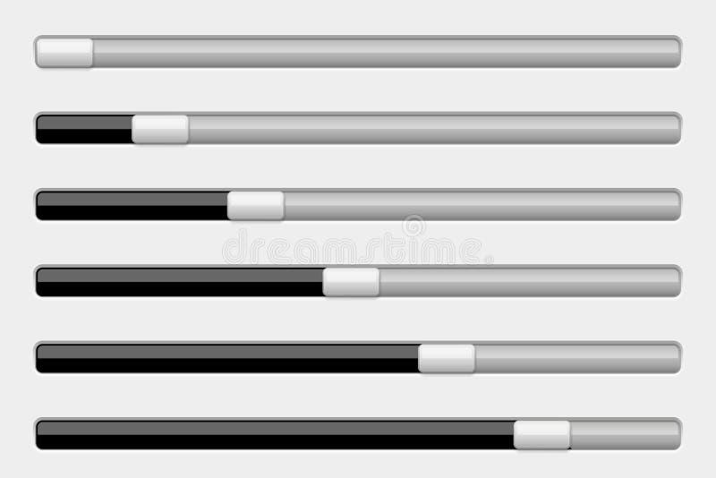 Barra del cursore dell'interfaccia Il nero e gray illustrazione di stock