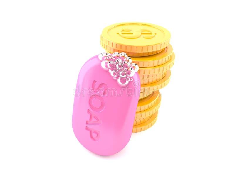 Barra del jab?n con la pila de monedas ilustración del vector