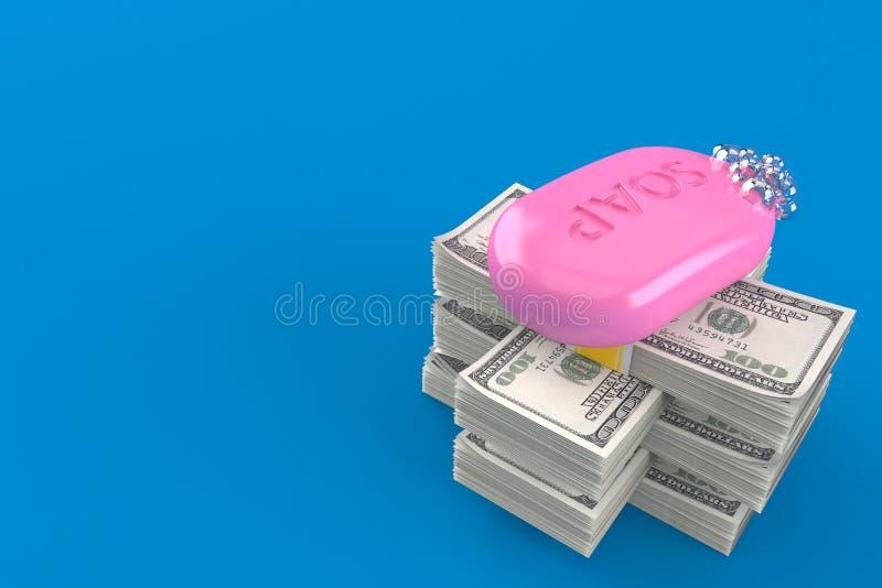 Barra del jab?n en la pila de dinero stock de ilustración
