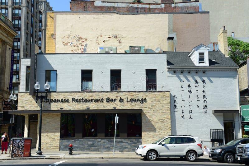 Barra del restaurante japonés en Chinatown histórico, Boston foto de archivo libre de regalías