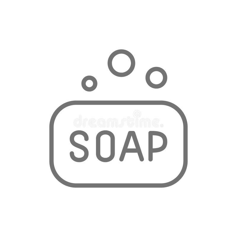 Barra del sapone, linea icona di igiene illustrazione di stock