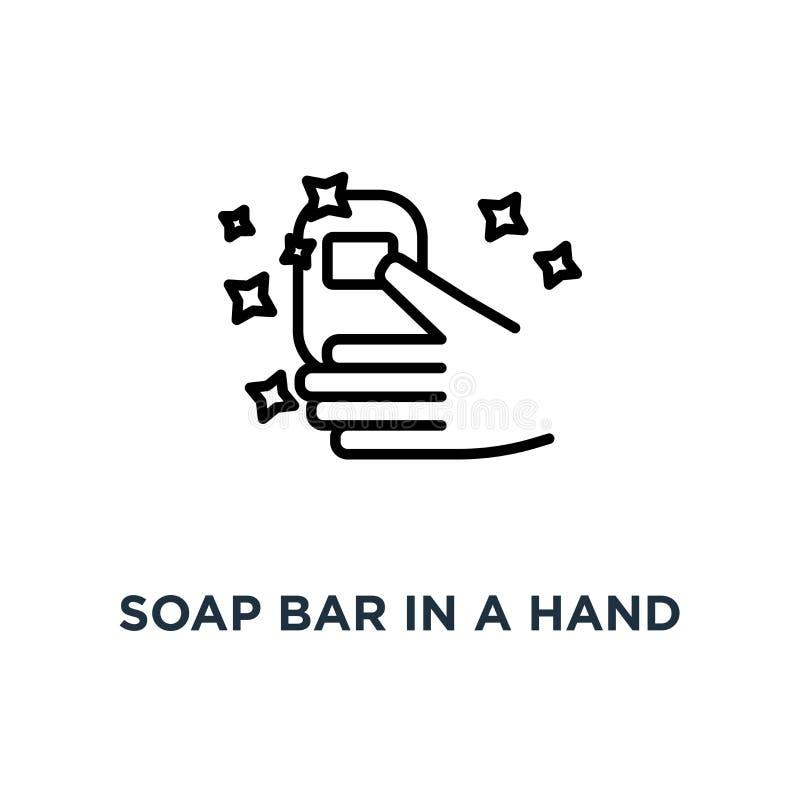 Barra del sapone in un'icona della mano Illustrazione semplice lineare dell'elemento era illustrazione di stock