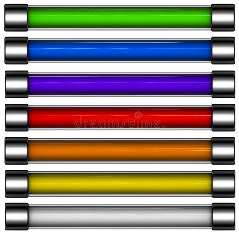 barra del tasto di trasferimento dal sistema centrale verso i satelliti colorata Rainbow 3d illustrazione di stock