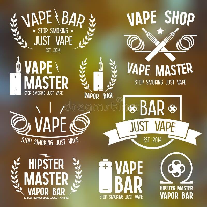 Barra del vapore e logo del negozio di Vape illustrazione di stock