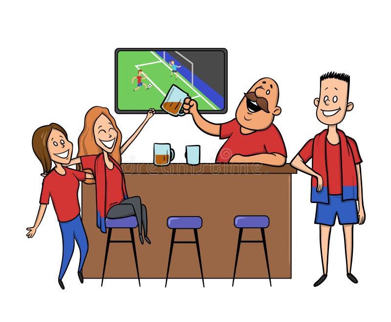 Barra della birra - ristorante Tifosi che incoraggiano per il gruppo in una barra Partita di calcio, barra con il barista, bevand illustrazione di stock