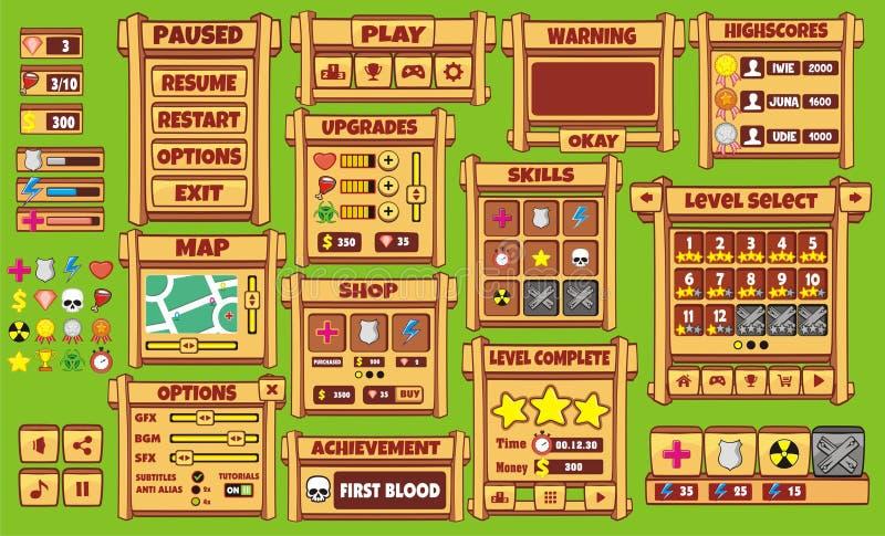 Barra delle risorse di progettazione del gioco dell'interfaccia dell'interfaccia utente del gioco 3 ed icone delle risorse per i  illustrazione vettoriale