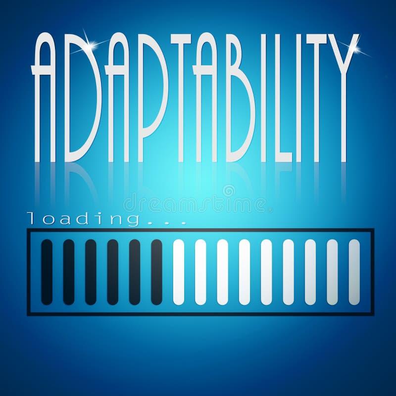 Barra di caricamento blu con la parola di adattabilità illustrazione vettoriale