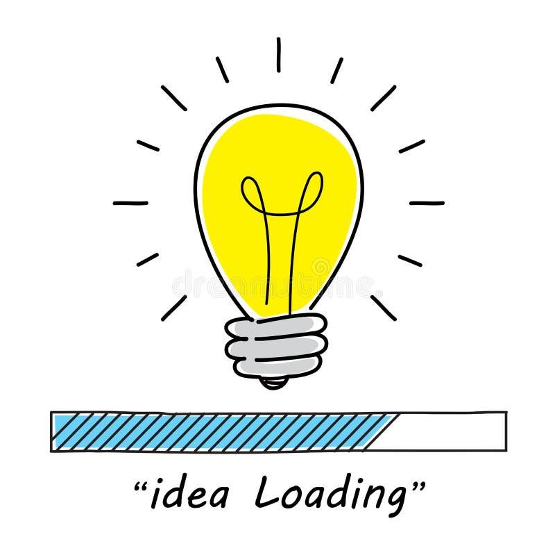 Barra di caricamento con la lampadina Concetto di progetto di affari illustrazione di stock