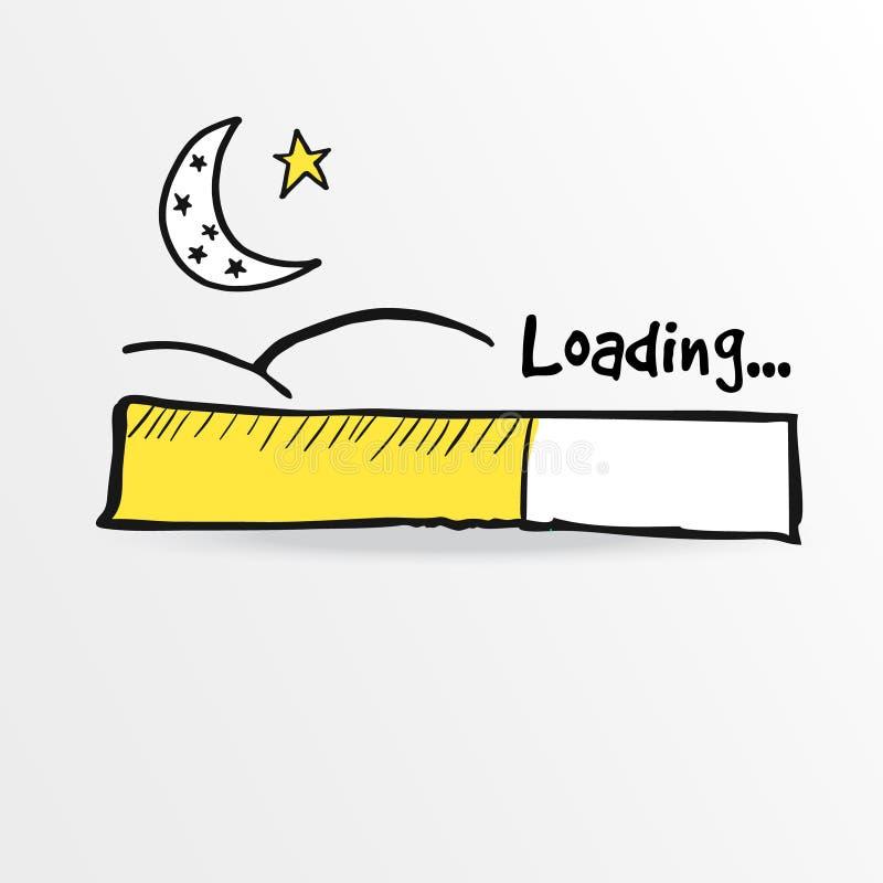 Barra di caricamento con la luna e la stella, illustrazione del Ramadan illustrazione vettoriale