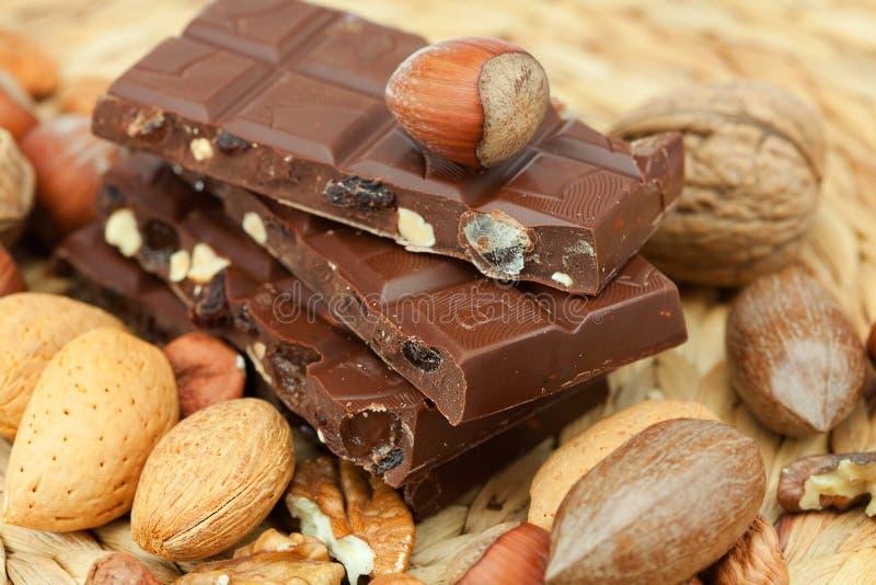 Barra di cioccolato e delle noci fotografia stock libera da diritti