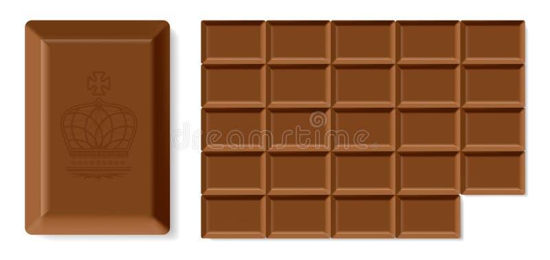 Barra di cioccolato realistica illustrazione vettoriale