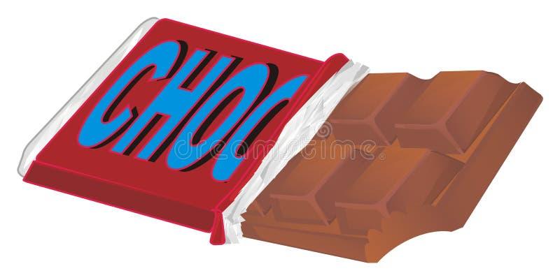 Barra di cioccolato sul pacchetto illustrazione vettoriale