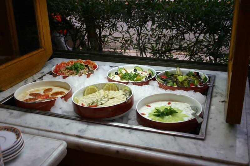 Barra di insalata fotografie stock