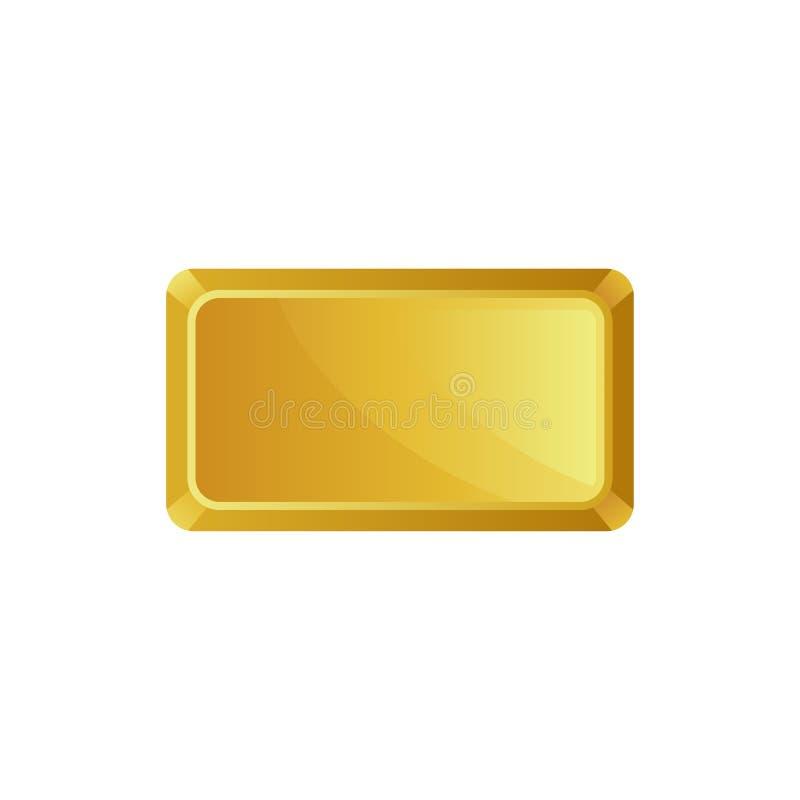 Barra di oro, vista superiore, settore bancario, prosperità, illustrazione di vettore di siymbol del tesoro su un fondo bianco illustrazione di stock