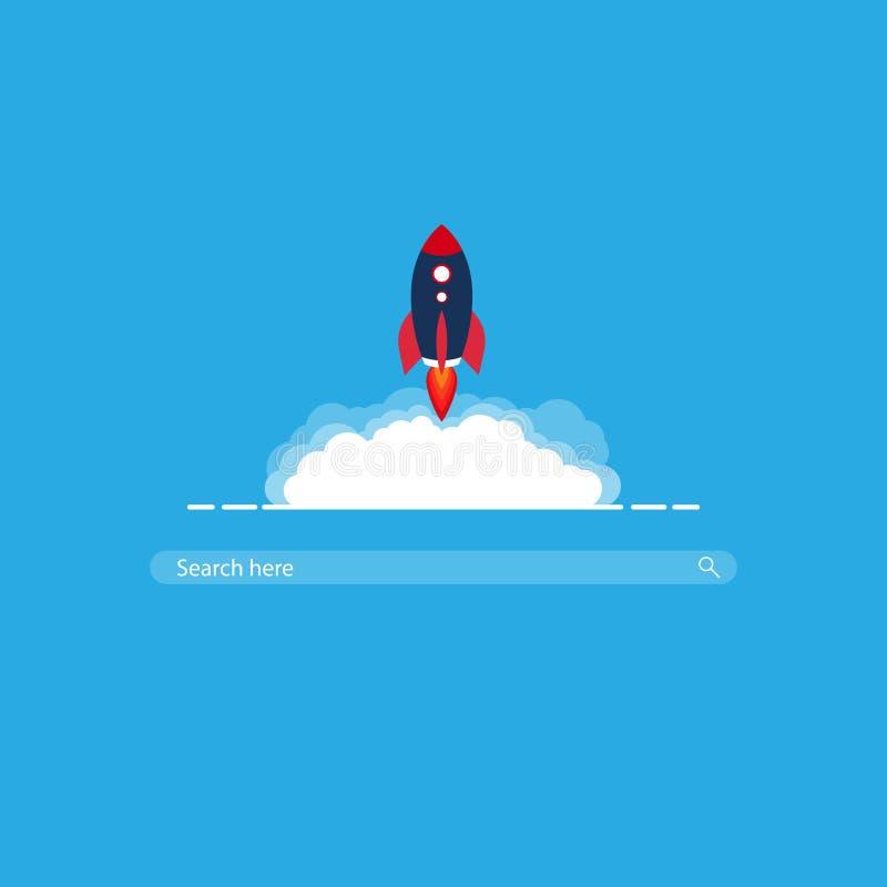 Barra di ricerca di Rocket ricerca veloce eccellente di web illustrazione di stock