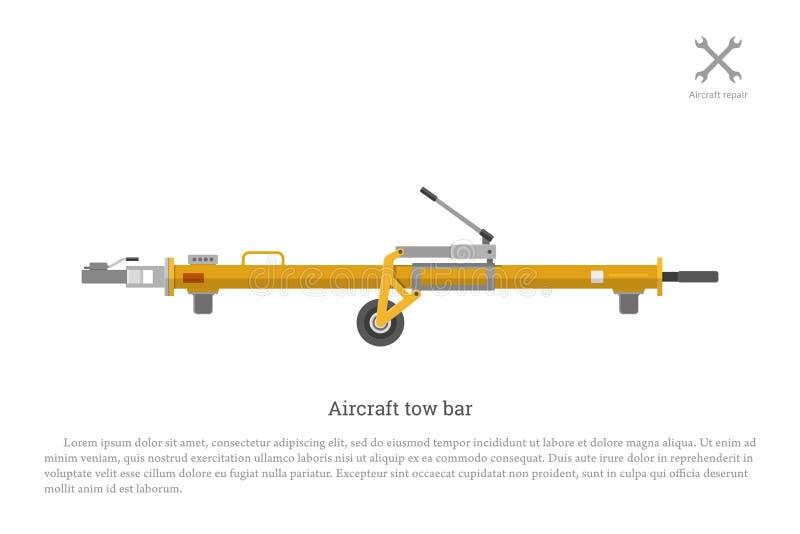 Barra di rimorchio degli aerei Apparecchiature aeronautiche per la riparazione e la manutenzione royalty illustrazione gratis