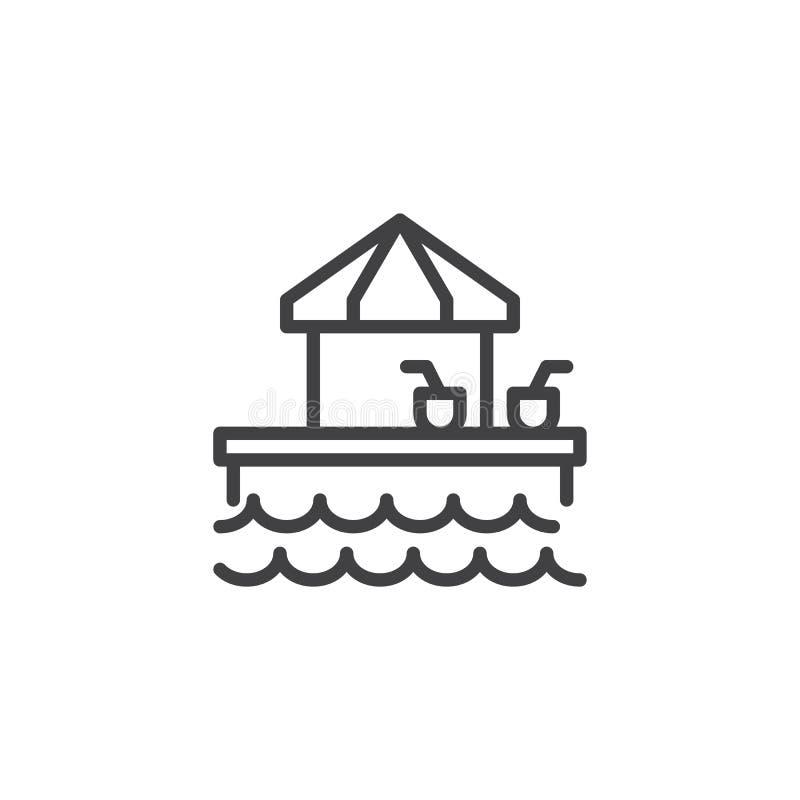 Barra do Aqua com ícone do esboço das bebidas ilustração stock