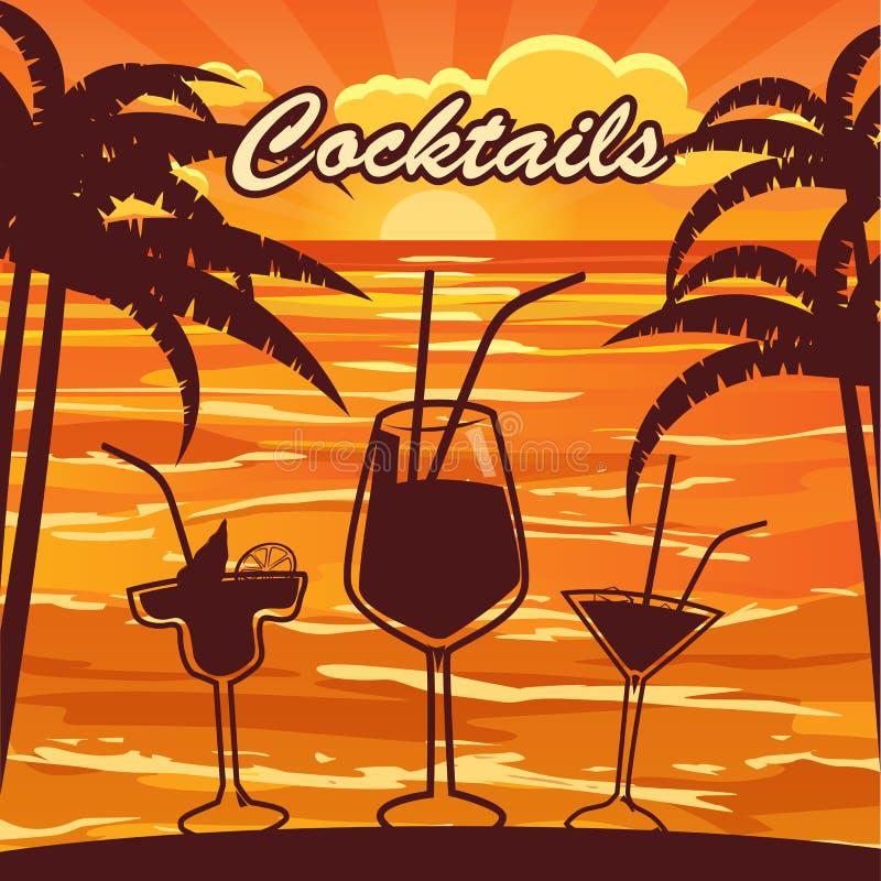 Barra do cocktail, palmas, por do sol, mar oceano, inseto do convite, estilo dos desenhos animados, bandeira, ilustração do vetor ilustração stock
