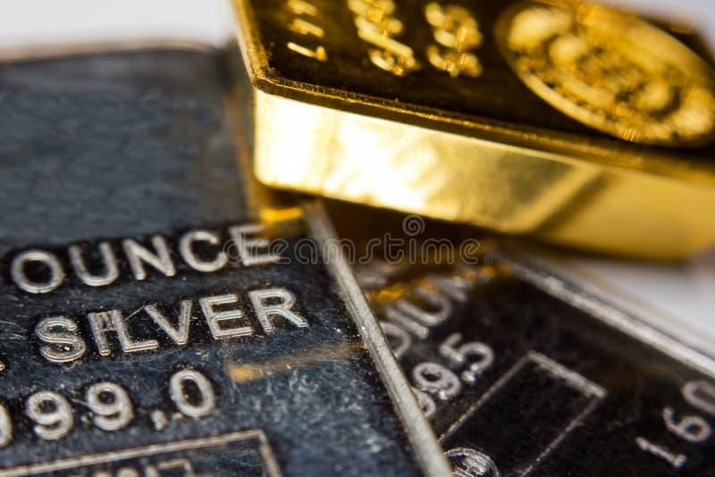 Barra do ouro, da prata e do paládio fotos de stock royalty free