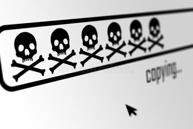 Barra do progresso da transferência ou da cópia feita dos crânios na exposição do web browser - pirataria de software, código do  fotos de stock royalty free
