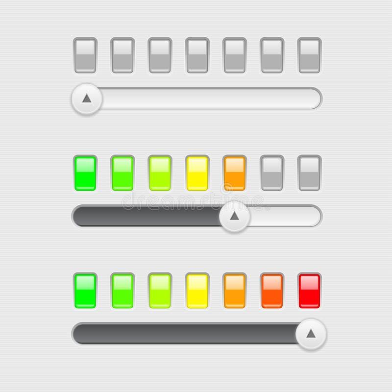 Barra do slider Com indicação nivelada colorida ilustração do vetor