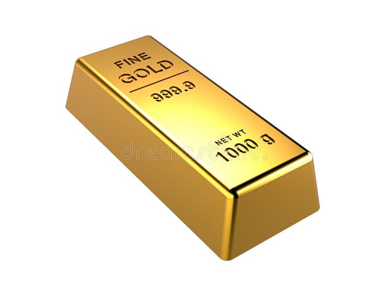 barra dorada aislada en un fondo blanco. Conceptos financieros. Ilustración 3d ilustración del vector