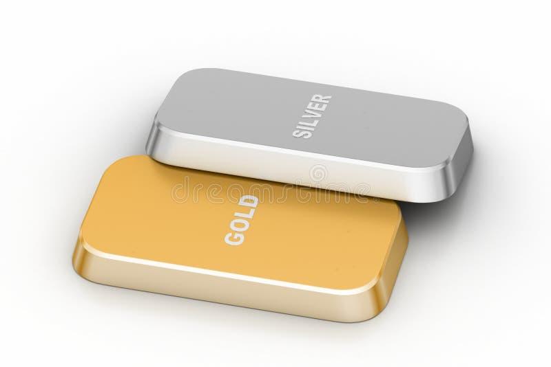 Barra dorata e d'argento illustrazione vettoriale