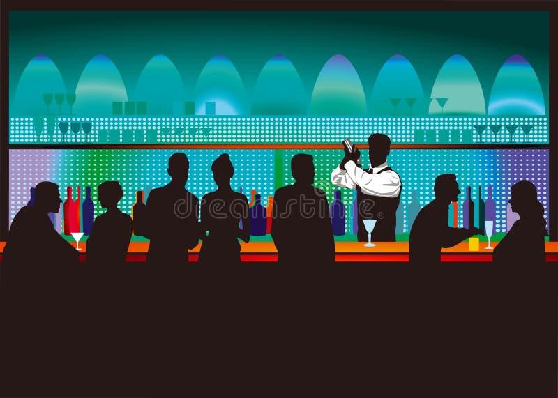Barra e barista illustrazione di stock