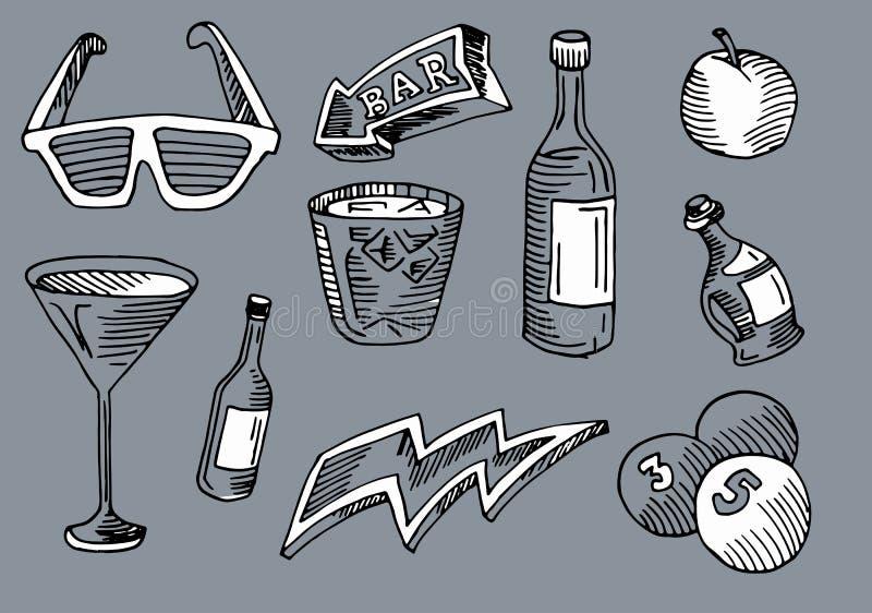 Barra e café, bebida e seta no arte ajustado dentro ilustração do vetor