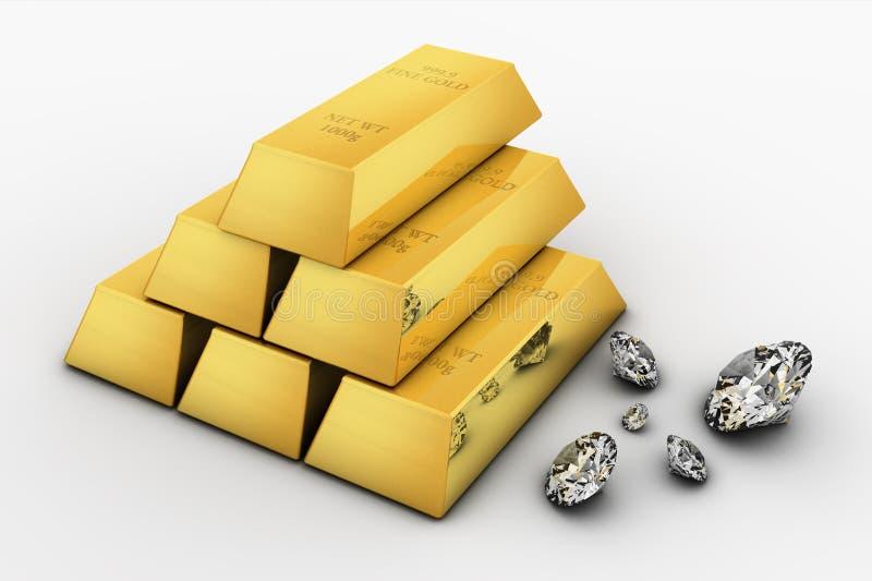 Barra e diamantes de ouro ilustração stock