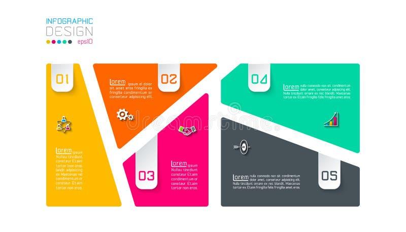 A barra etiqueta infographic com 5 etapas ilustração do vetor