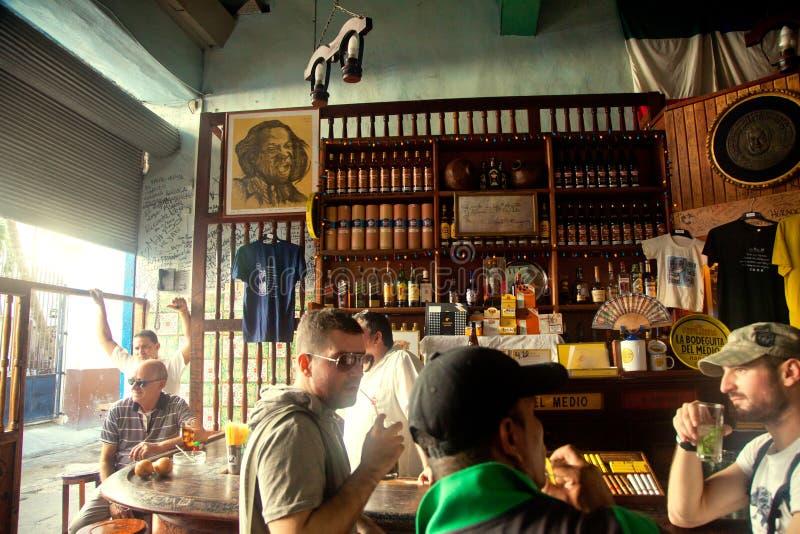 Barra famosa di Ernest Hemingway in Cuba, Avana fotografia stock libera da diritti