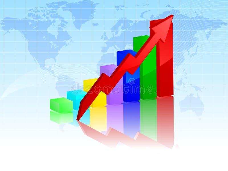 Barra gráfica com seta ilustração stock
