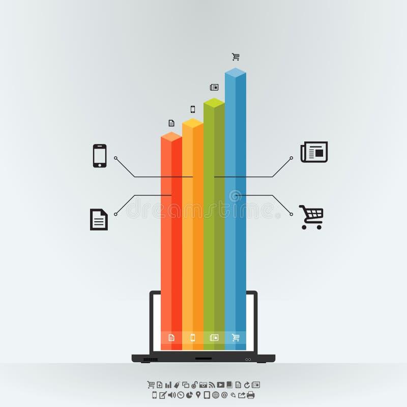 Barra gráfica Infographics do portátil ilustração stock