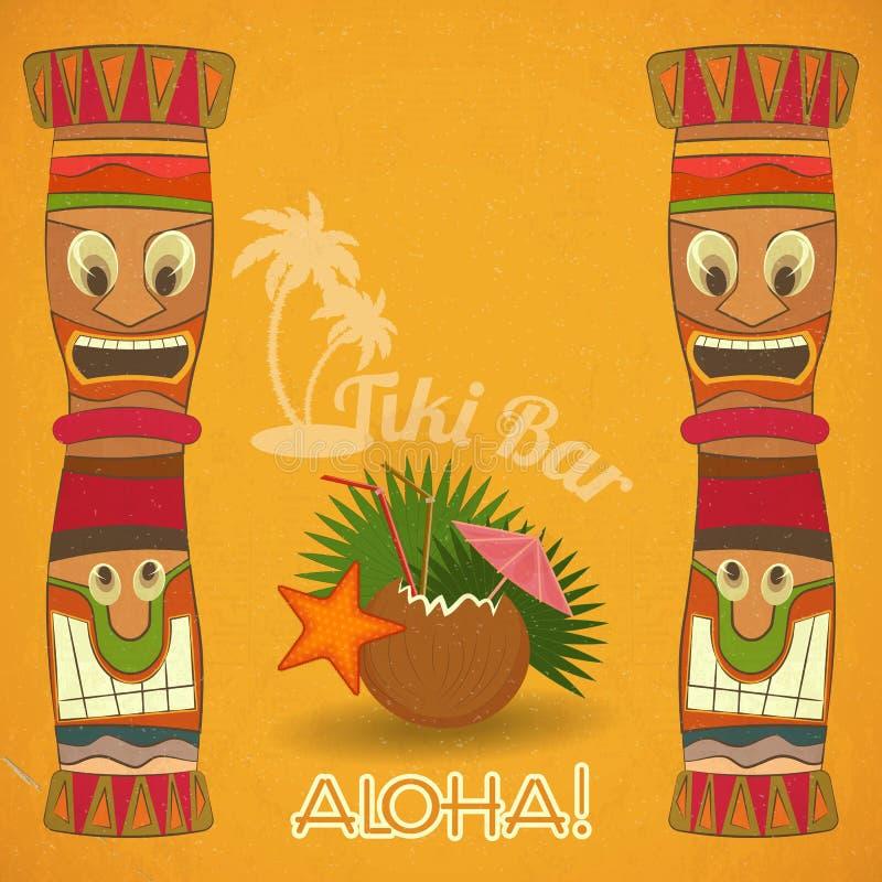 Barra havaiana de Tiki do vintage ilustração stock