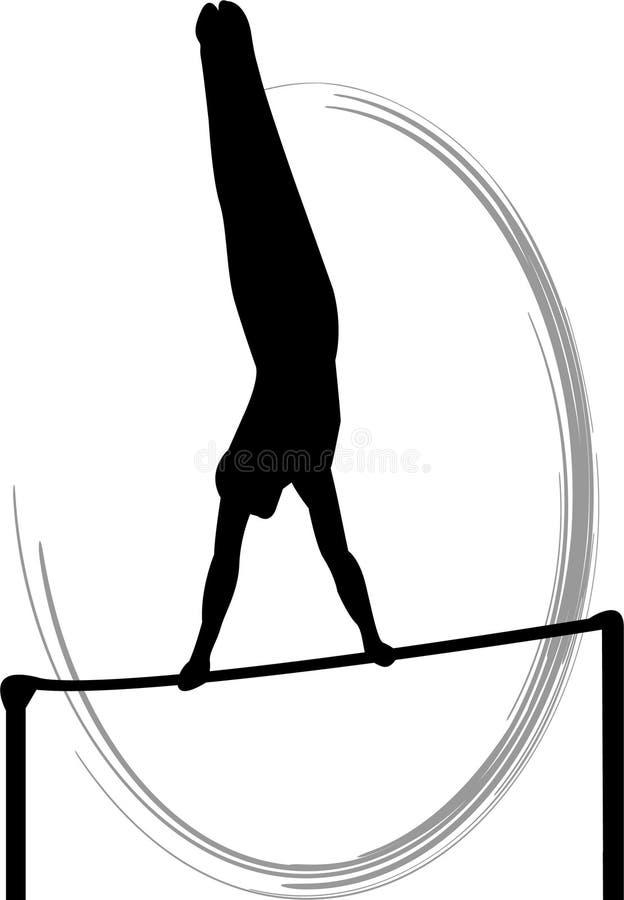 Barra horizontal de la gimnasia de hombres stock de ilustración