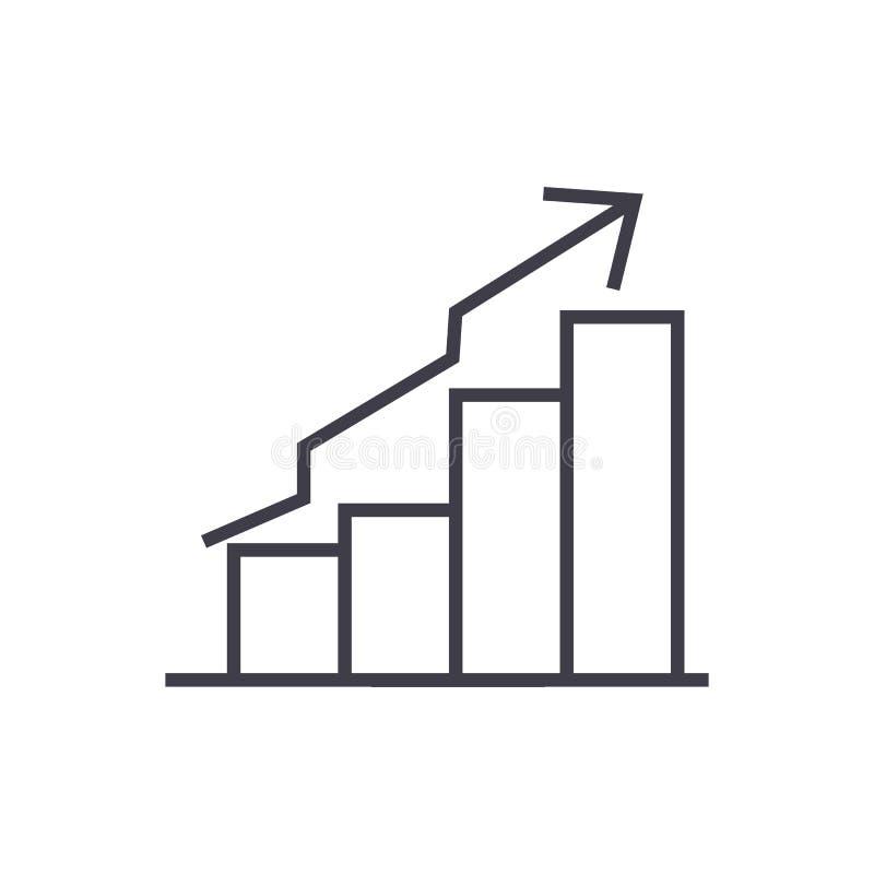 Barra a linha ascendente ícone do vetor do gráfico, sinal, ilustração no fundo, cursos editáveis ilustração stock