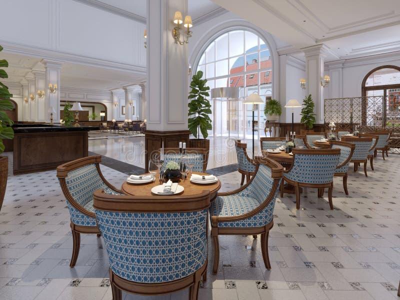 Barra luxuoso com tabelas e cadeiras no interior clássico de ilustração stock