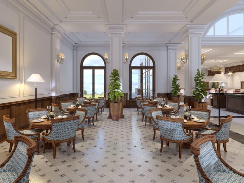Barra luxuoso com tabelas e cadeiras no interior clássico de um hotel de cinco estrelas ilustração do vetor