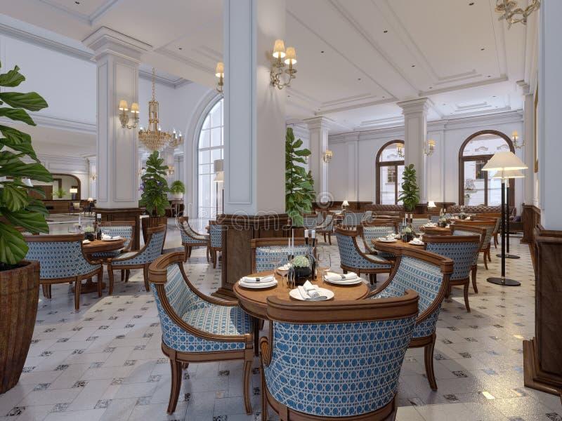 Barra luxuoso com tabelas e cadeiras no interior clássico de um hotel de cinco estrelas ilustração stock