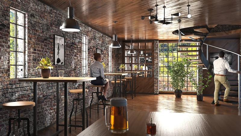 Barra moderna del desván con la pared de ladrillo y el ejemplo industrial de las lámparas 3D libre illustration