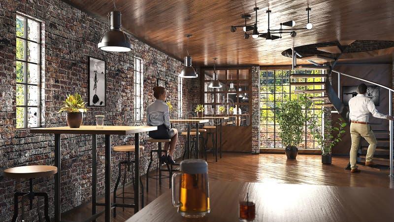 Barra moderna do sótão com parede de tijolo e ilustração industrial das lâmpadas 3D ilustração royalty free