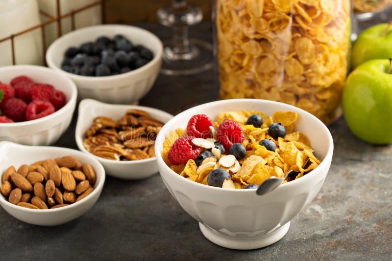 Barra o comida fría del cereal con los copos de maíz, la fruta y las nueces fotos de archivo libres de regalías