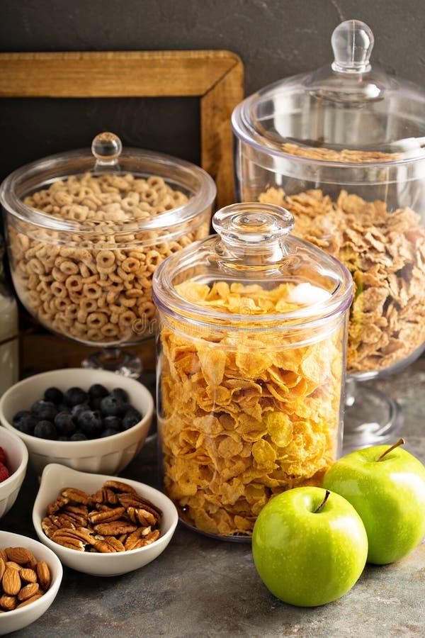 Barra o comida fría del cereal con los copos de maíz, la fruta y las nueces imagen de archivo libre de regalías