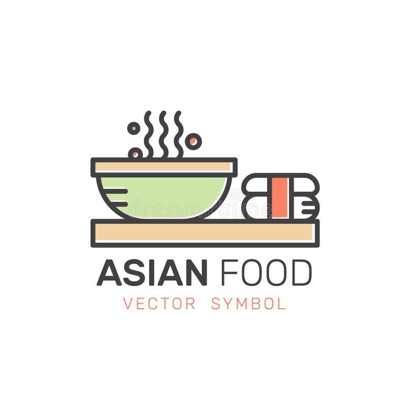 Barra o tienda asiática, tallarines de los alimentos de preparación rápida de la calle con los palillos stock de ilustración