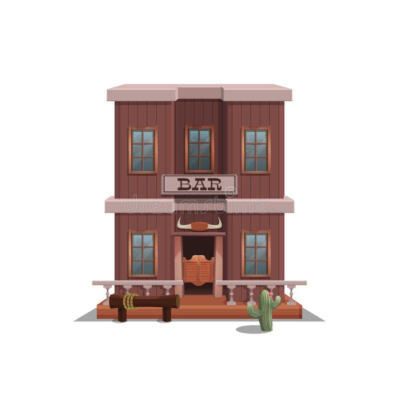 Barra para la ciudad occidental para el nivel del juego y fondo aislado en el fondo blanco Diseño constructivo - oeste salvaje libre illustration
