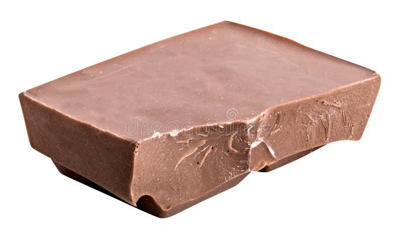 Barra quebrada del chocolate con leche aislada en blanco Composit horizontal imágenes de archivo libres de regalías