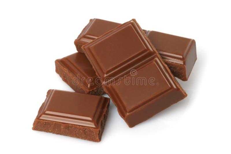 Barra rotta del cioccolato al latte fotografie stock libere da diritti
