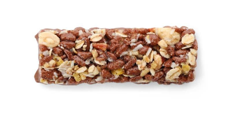 Barra saboroso da proteína no fundo branco fotografia de stock