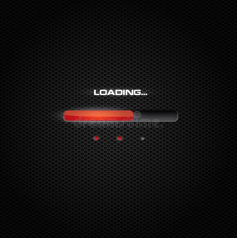 Barra vermelha da carga ou do progresso no fundo escuro ilustração do vetor